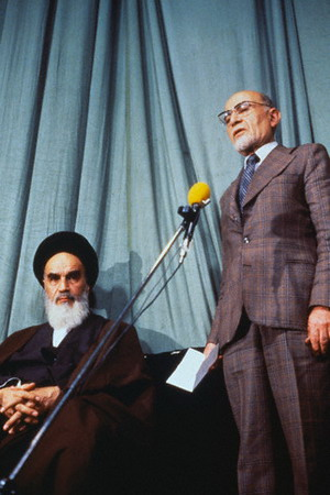 Ayatollah Khomeini (L) with the provisional go...