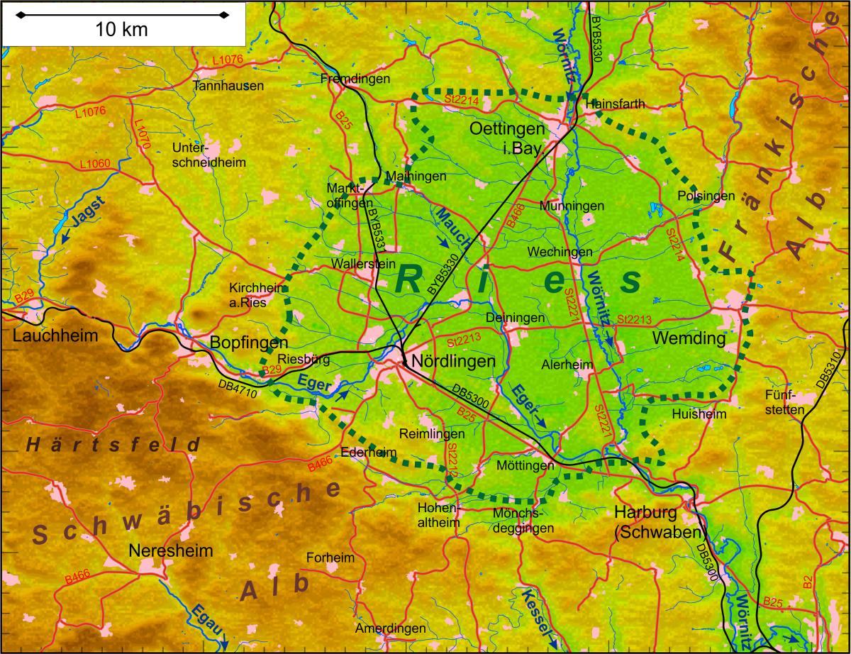 meteoriteneinschlag deutschland karte Nördlinger Ries – Wikipedia