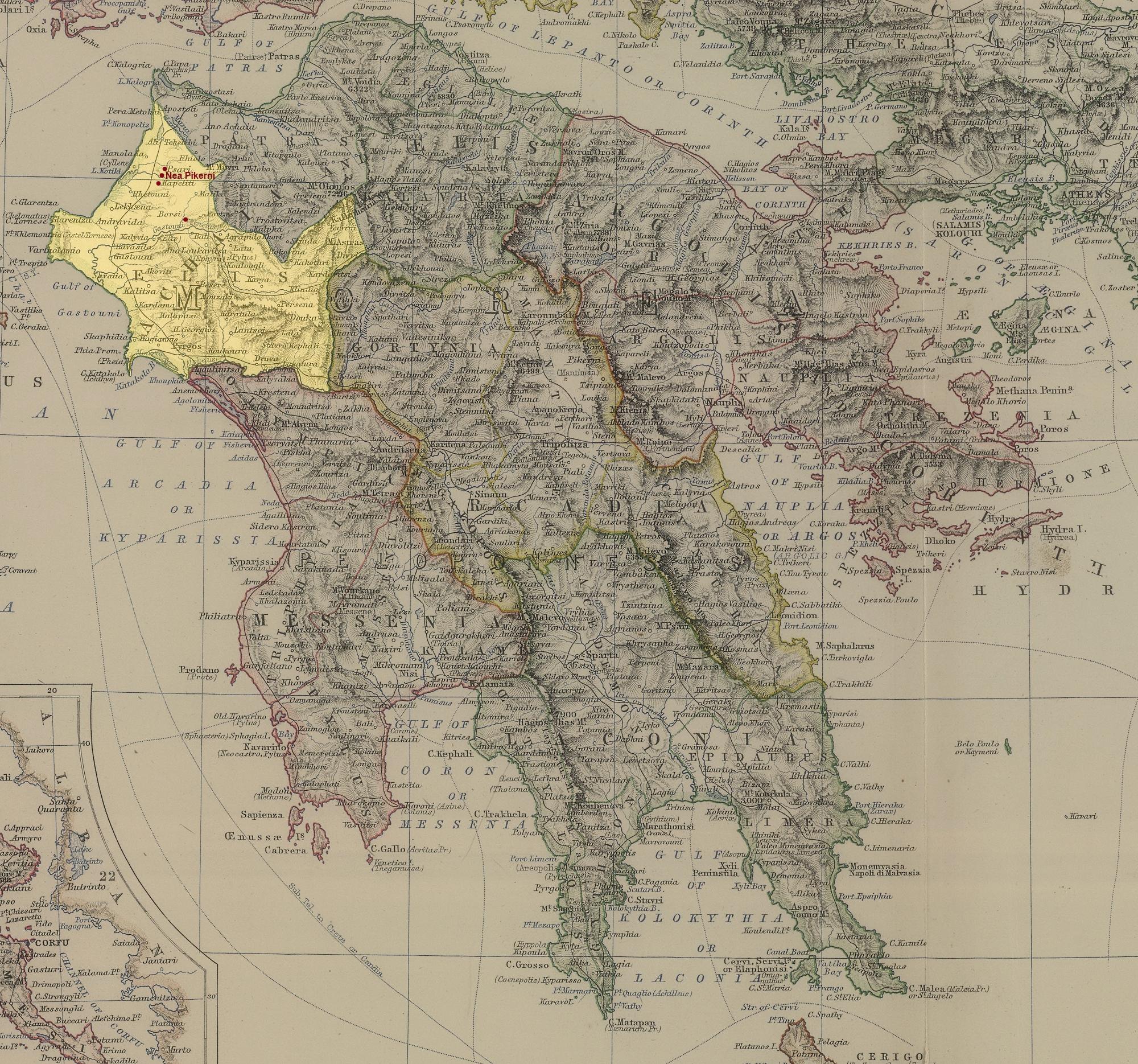 Mappa storica del Peloponneso datata 1879 con l indicazione della posizione geografica del nuovo insediamento di Nea Pikerni a sinistra