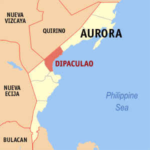 Map of Aurora showing the location of Dipaculao