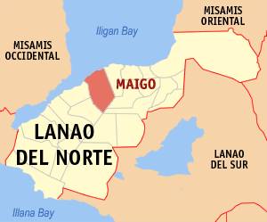 Map of Lanao del Norte showing the location of Maigo