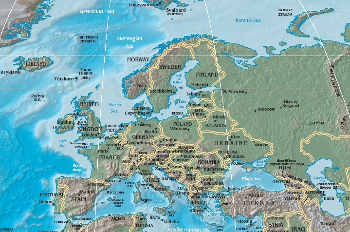 Cartina Dell Europa Fisica.Geografia Dell Europa Wikipedia