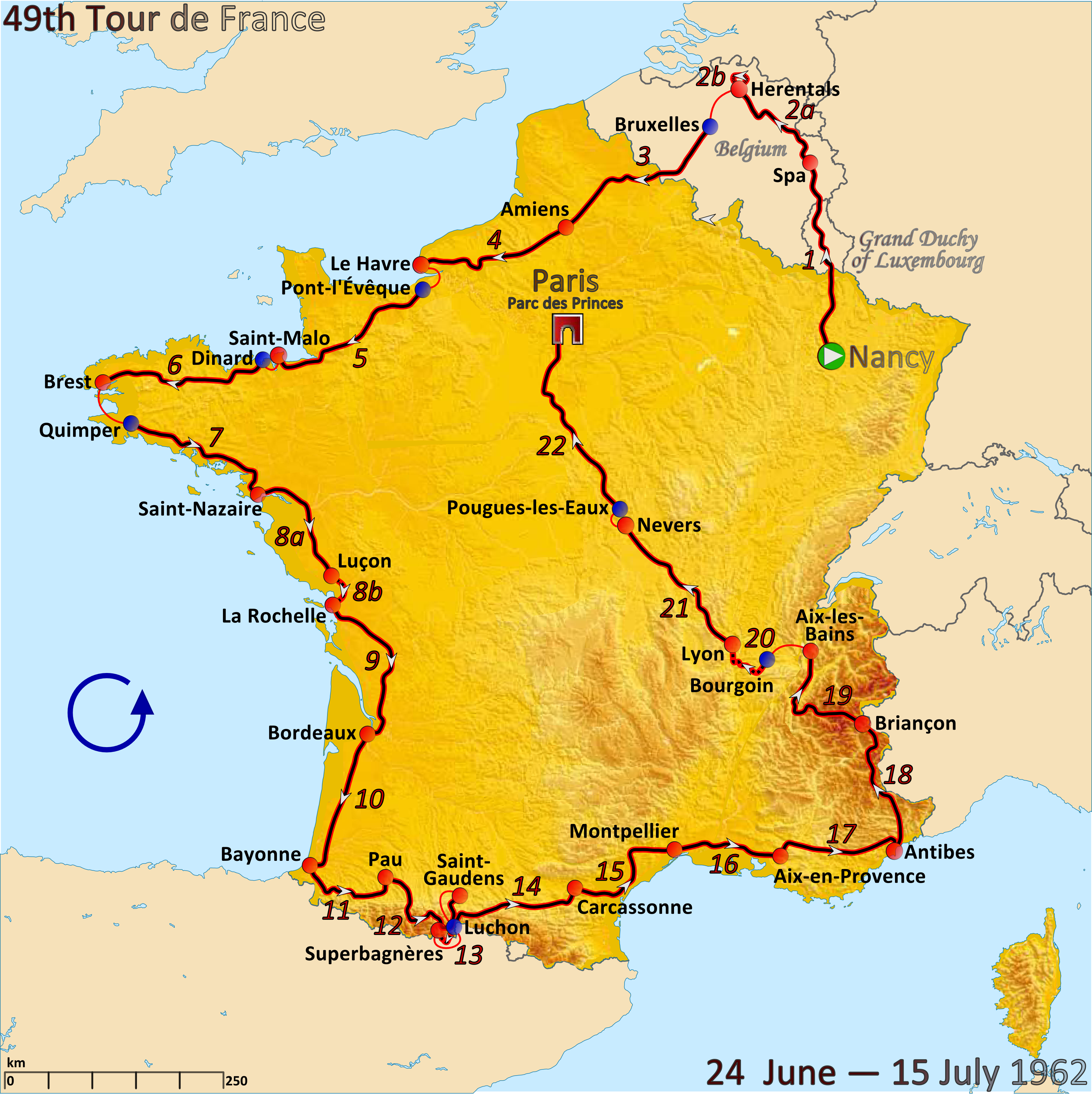 File Route Of The 1962 Tour De France Png Wikimedia Commons