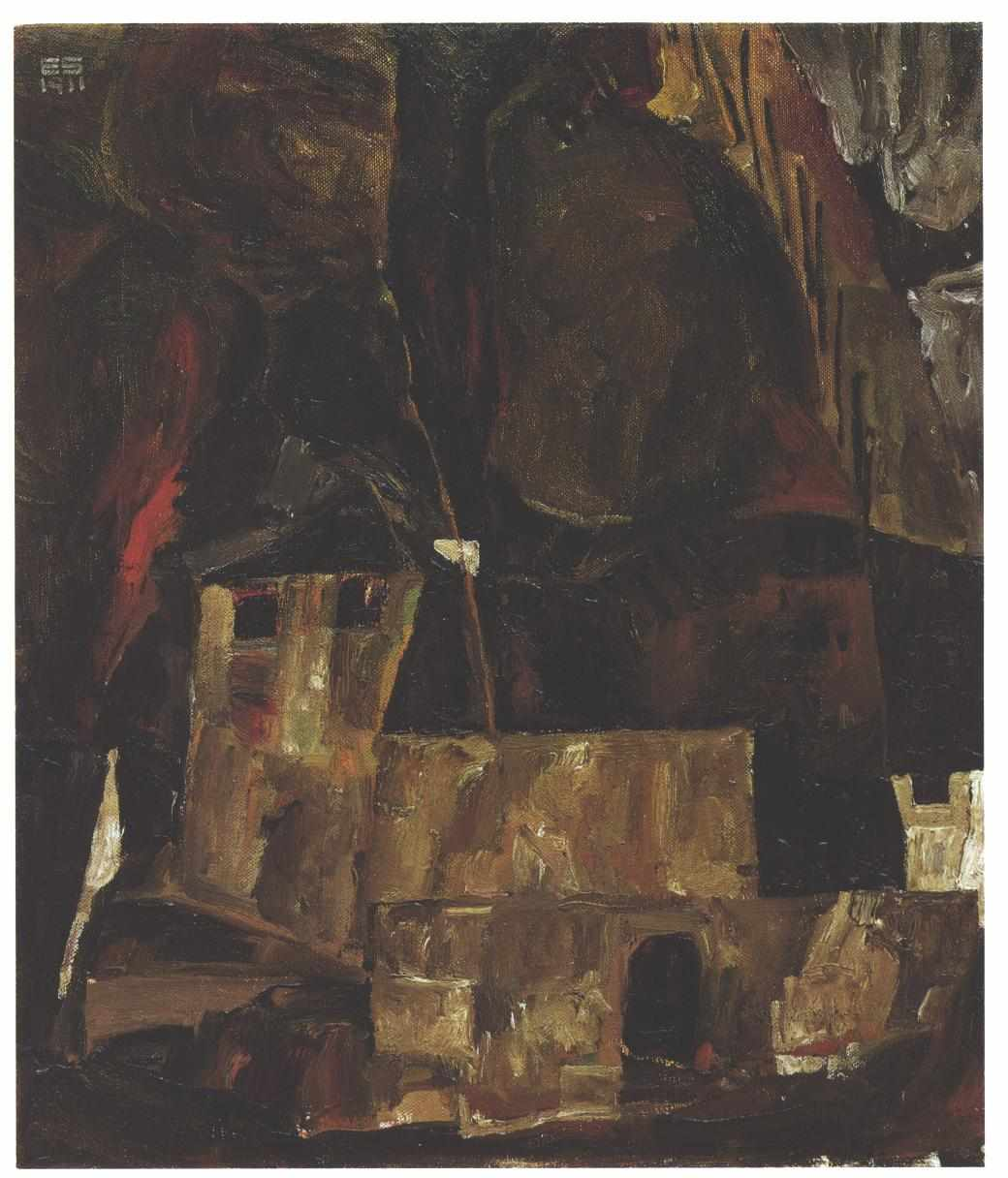 File Schiele Mauer Und Haus Vor Hugeligem Gelande Mit Zaun 1911