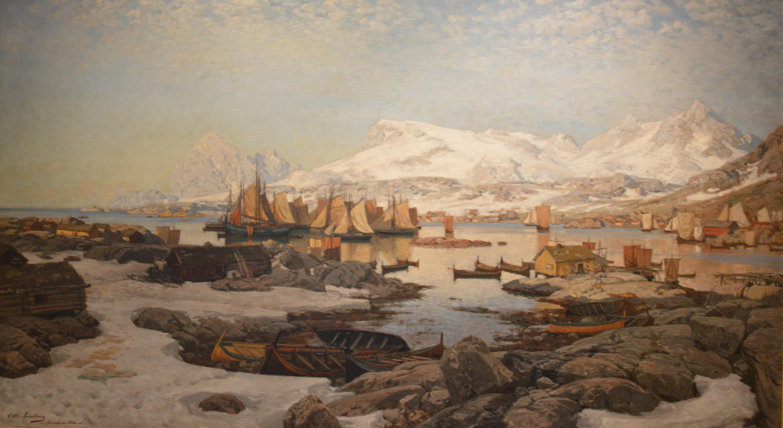 Przepiękny krajobraz Lofotów wiosną sprzed 135 lat. Surowe, całkowicie uzależnione od połowów dorsza życie tych wysp - za czasów Normanów niezależnego terytorium, obecnie w posiadaniu Norwegii - niewiele zmieniło się między XIV a XIX w.