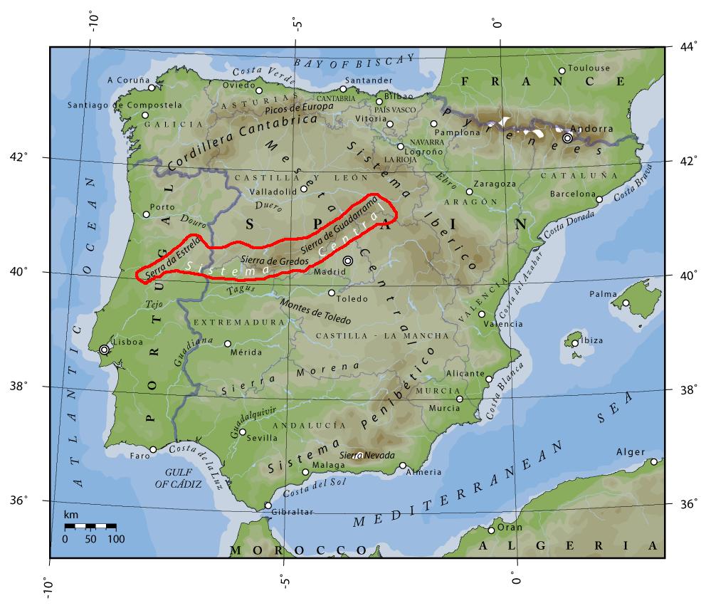 Sierra De Gredos Mapa.Sistema Central Wikipedia La Enciclopedia Libre