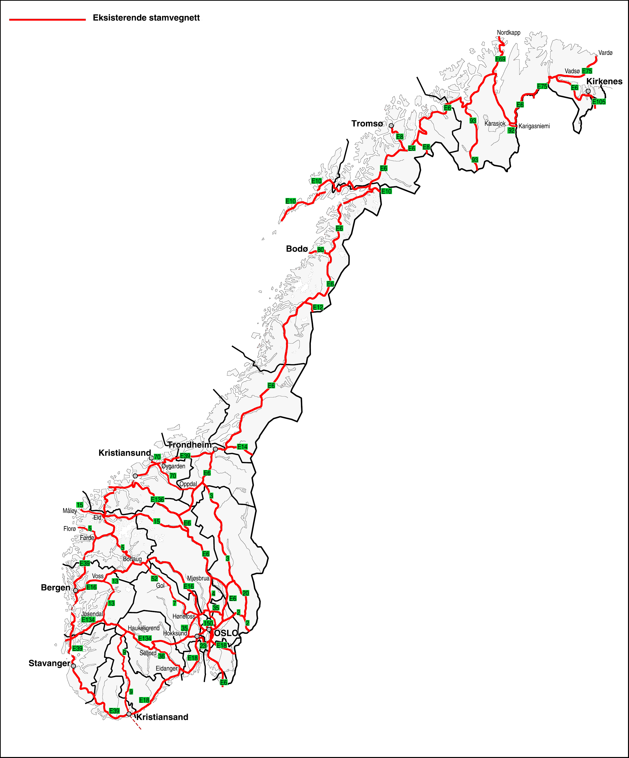 Road Map Of Norway - Norway map road