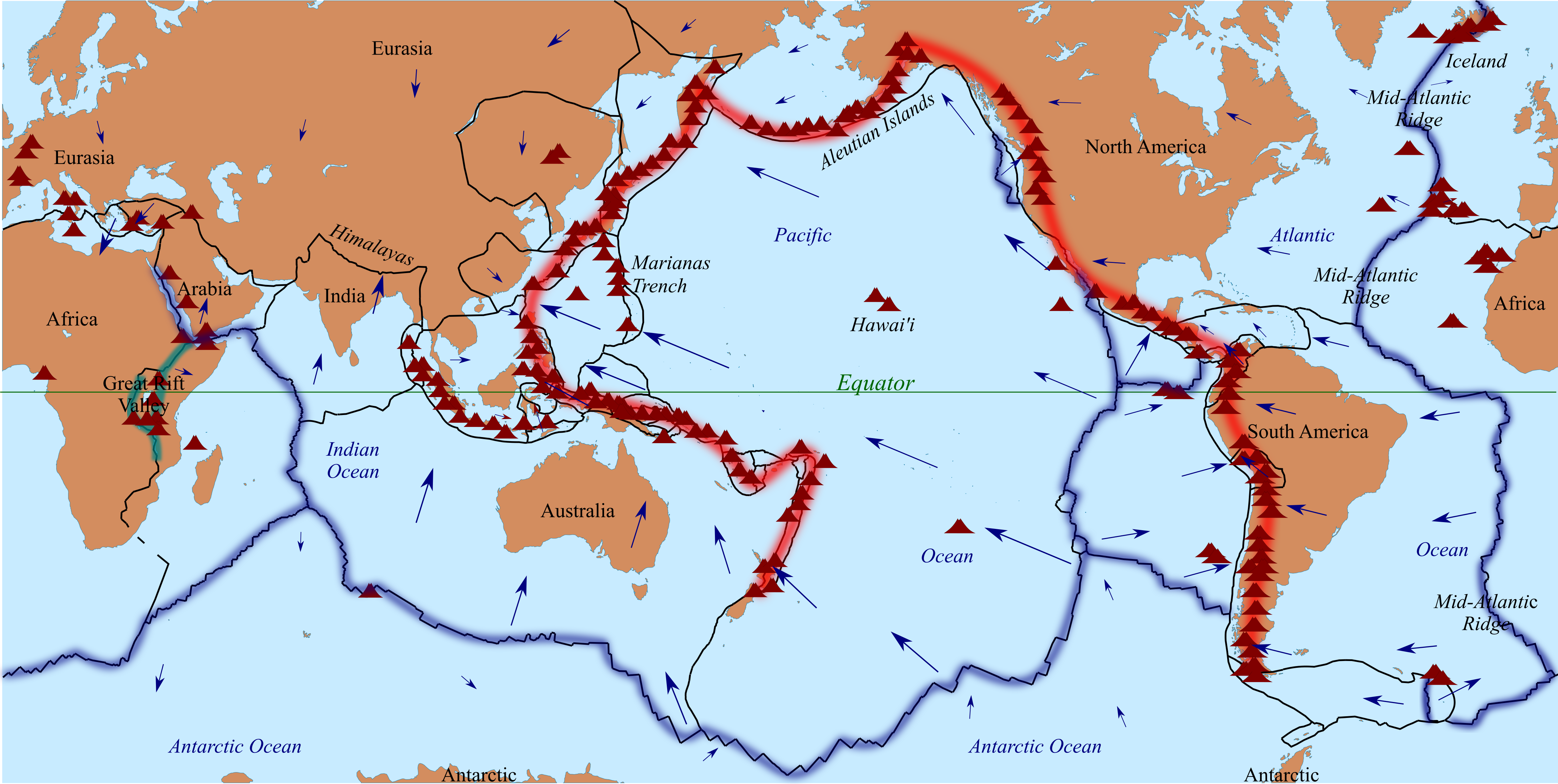 File Tectonic plates and ring of fire Wikimedia mons