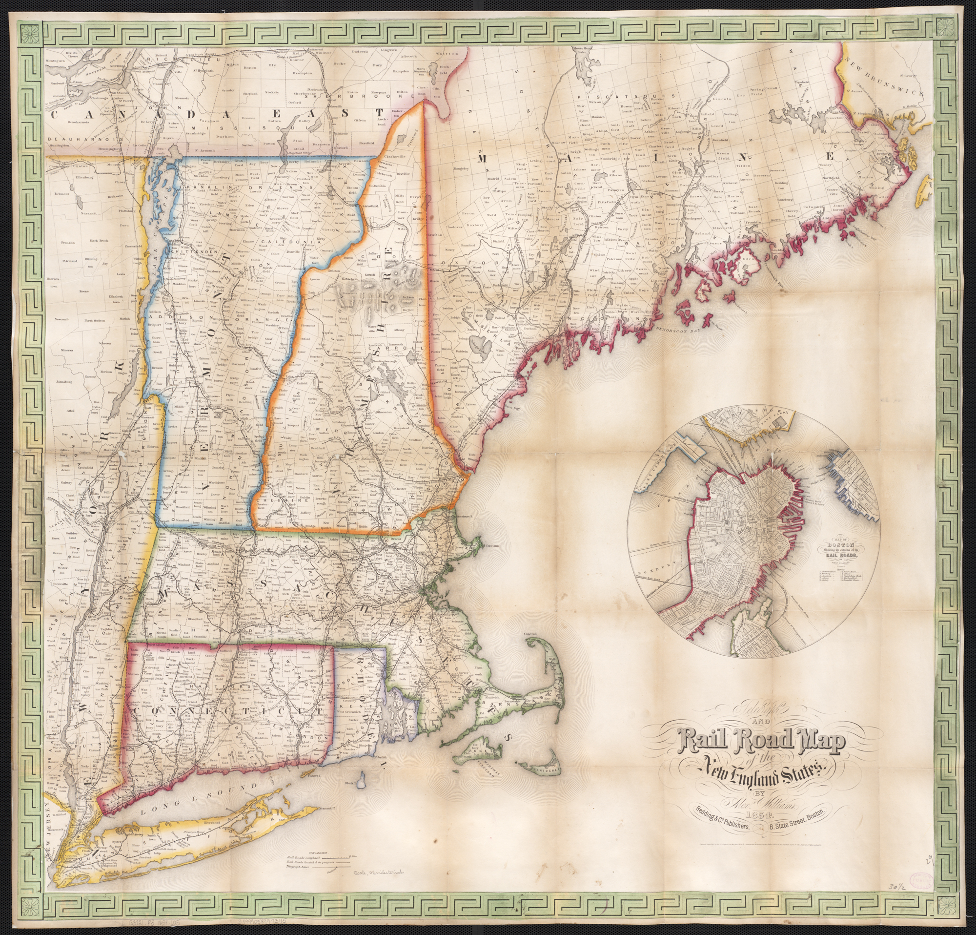File Telegraph and rail road map of the New England states