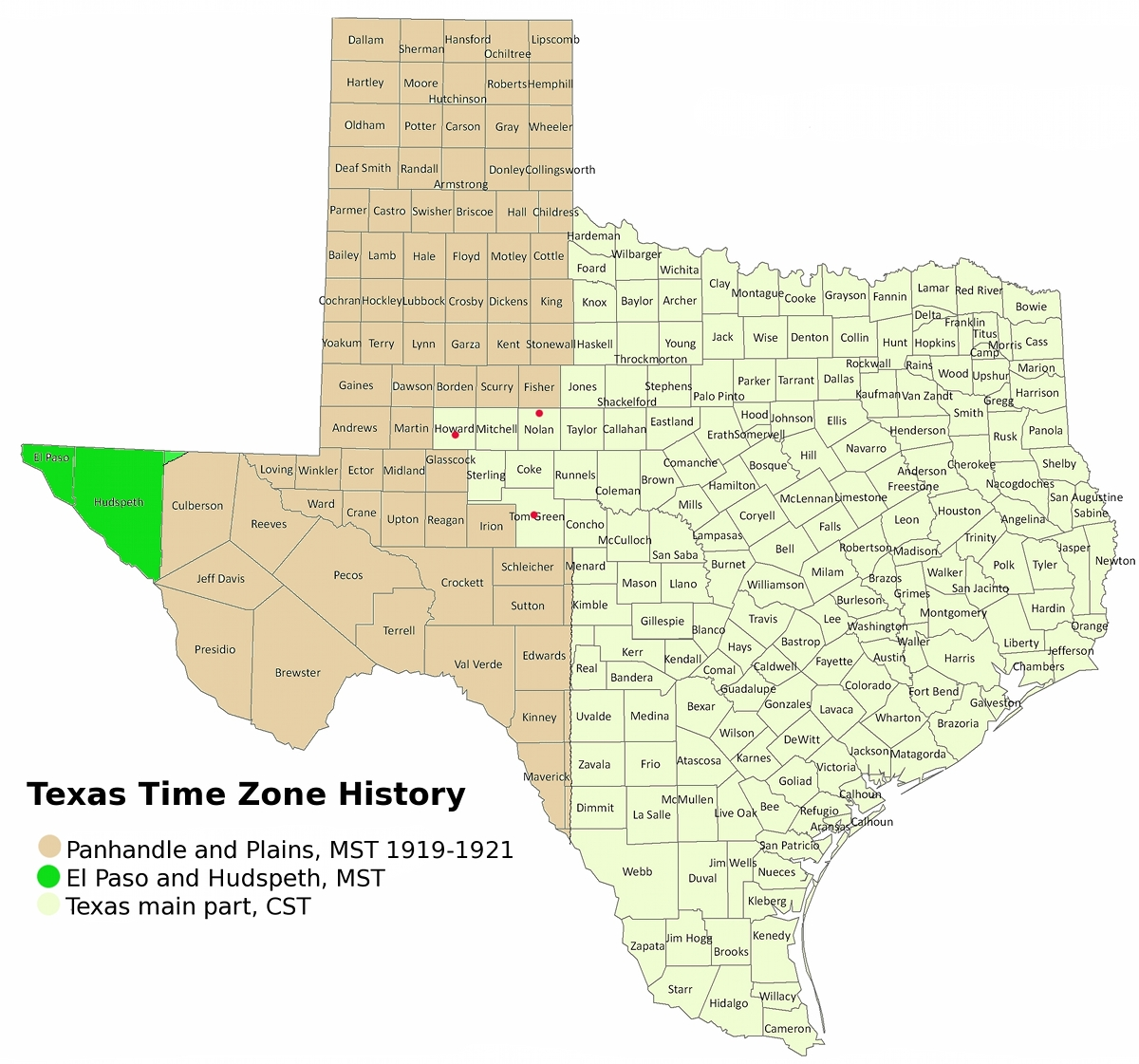 Texas Time Zones Map