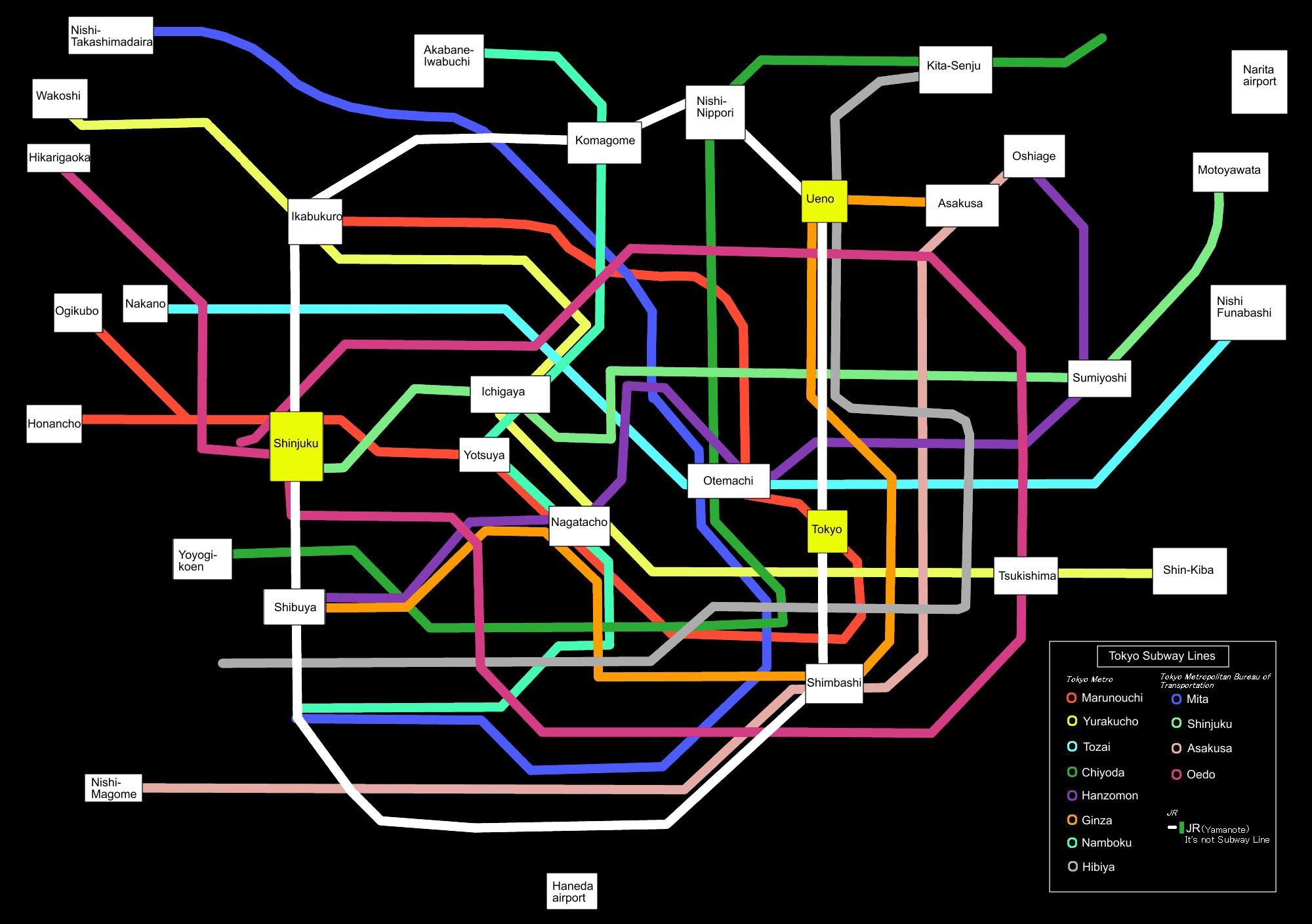File Tokyo subway map black PNG Wikimedia mons
