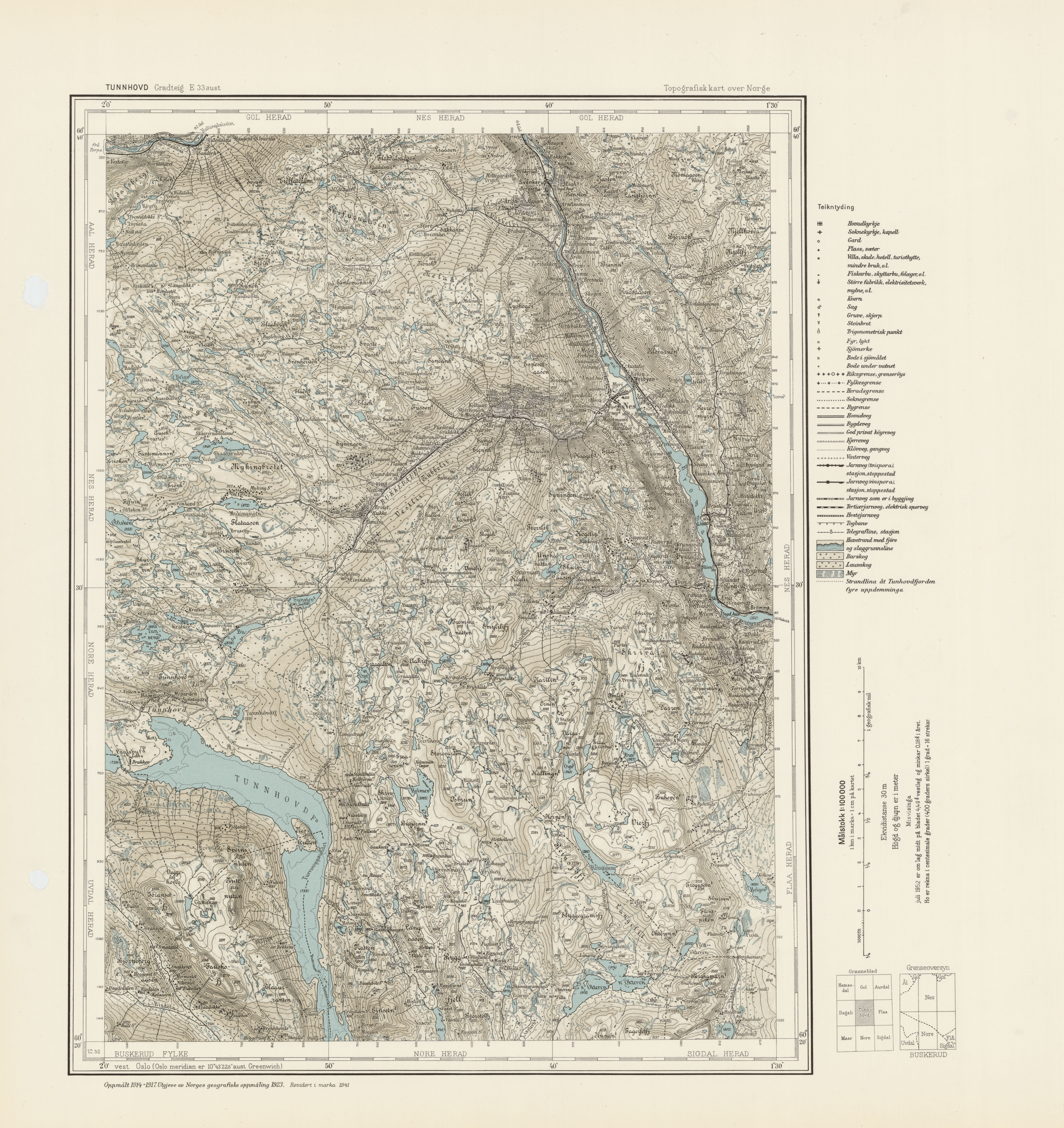 File Topographic map of Norway E33 vest Tunnhovd 1941