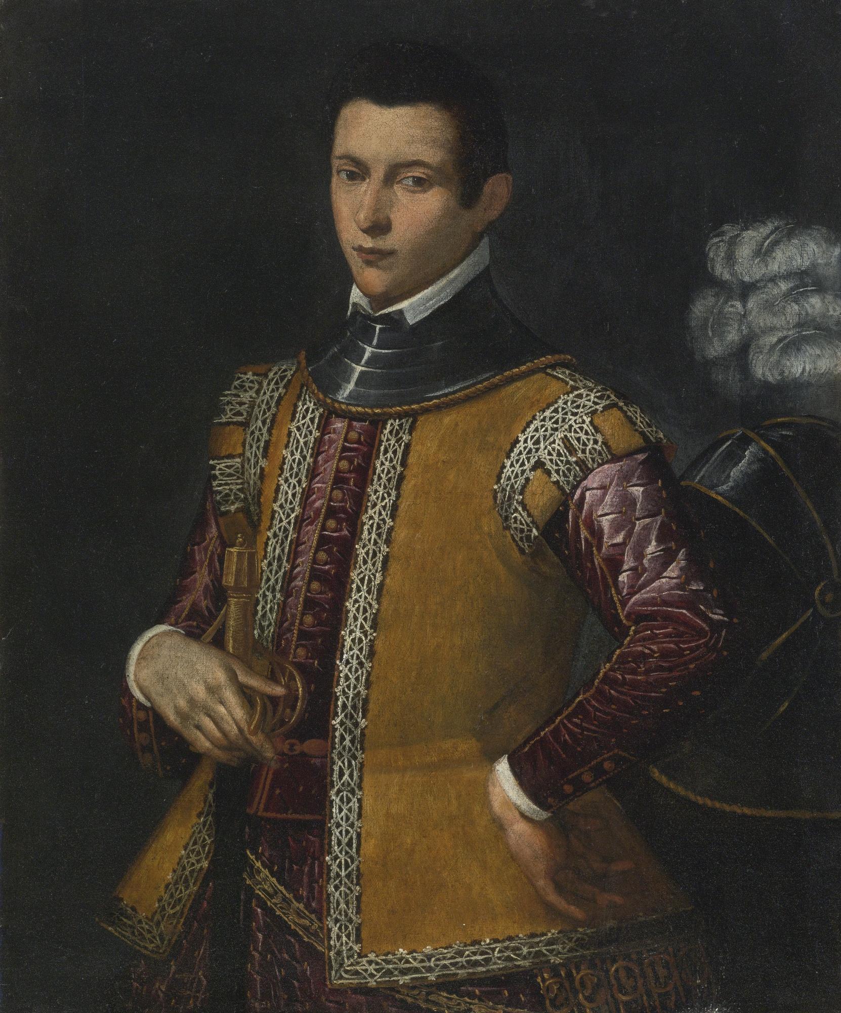 File Venetian School Portrait of a Man Holding a Sword