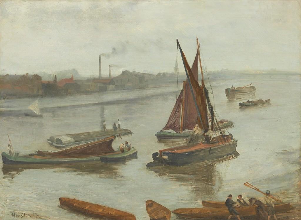 Ca s'est passé en juillet ! Whistler_James_Grey_and_Silver_Battersea_Beach_1863