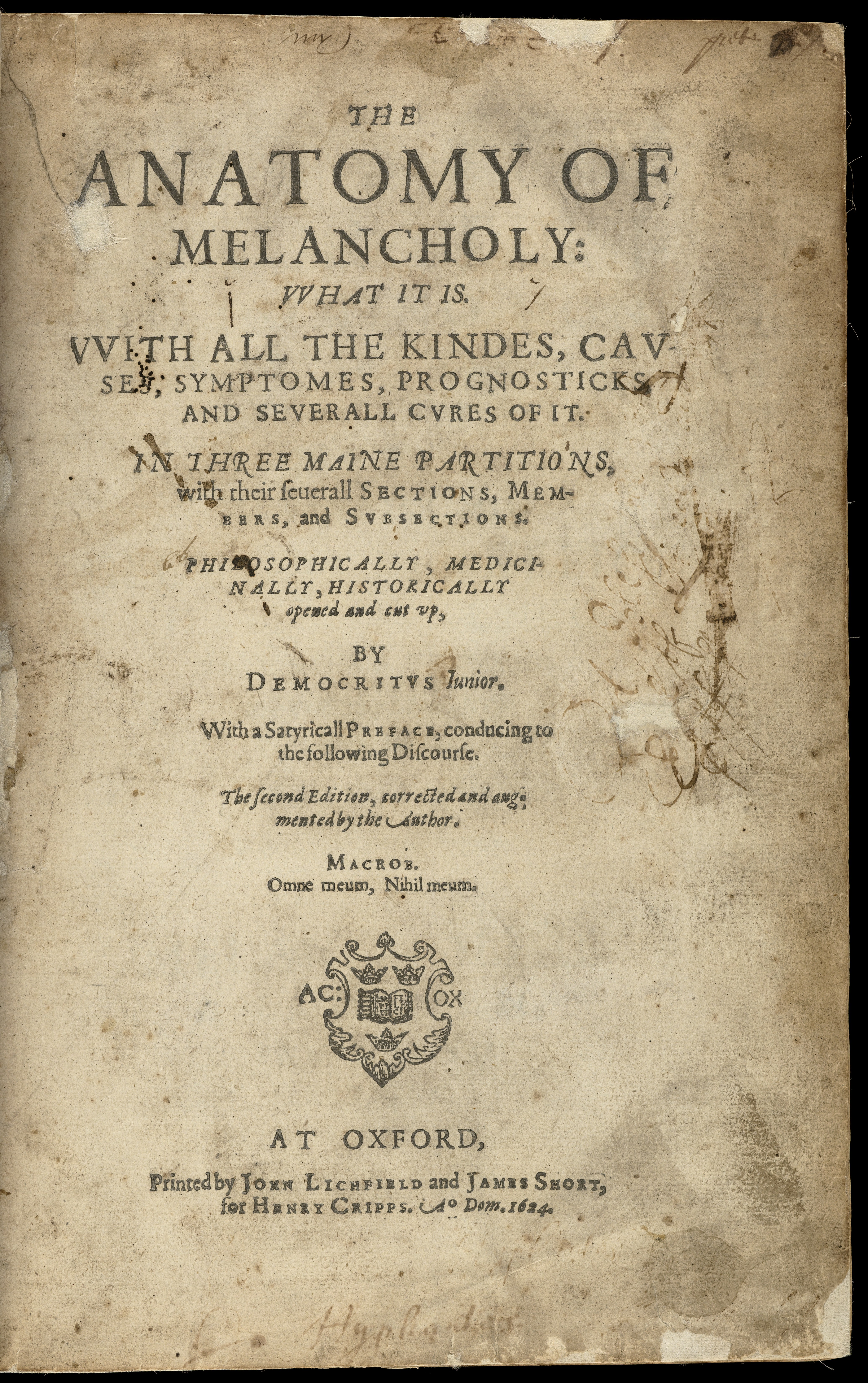 Filethe Anatomy Of Melancholy Title Page Wellcome L0060696g