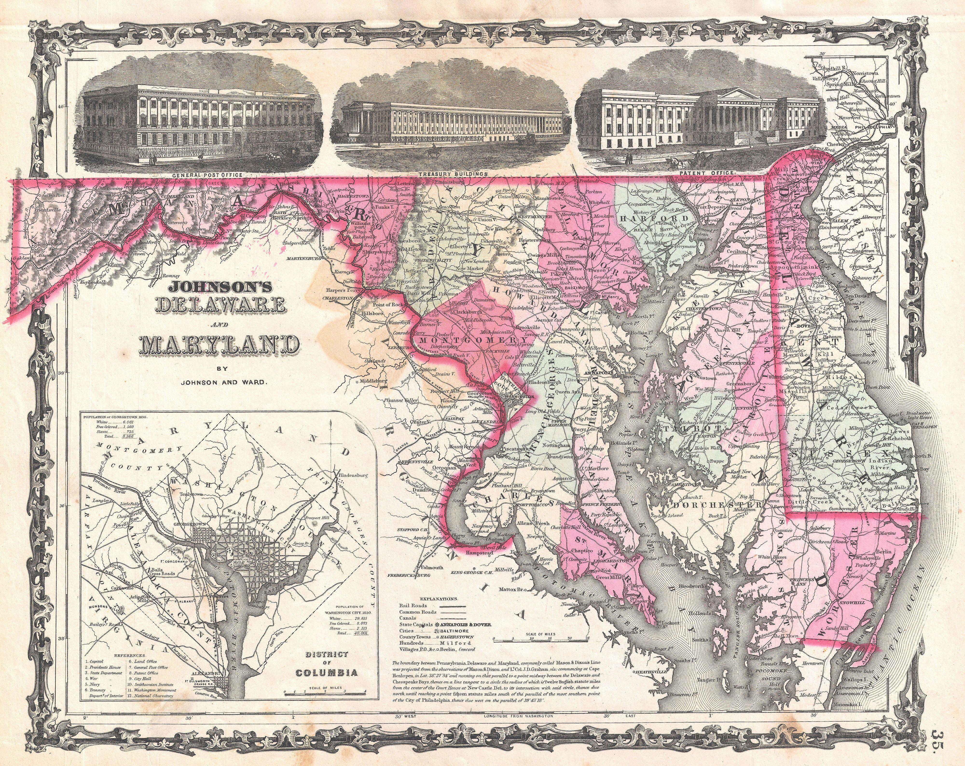 File:1862 Johnson Map of Maryland and Delaware - Geographicus - MDDE ...