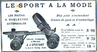 An advert for an early 20th century model which fit over regular shoes.