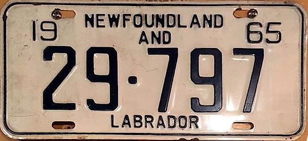 File:1965 Newfoundland passenger license plate - Number 29