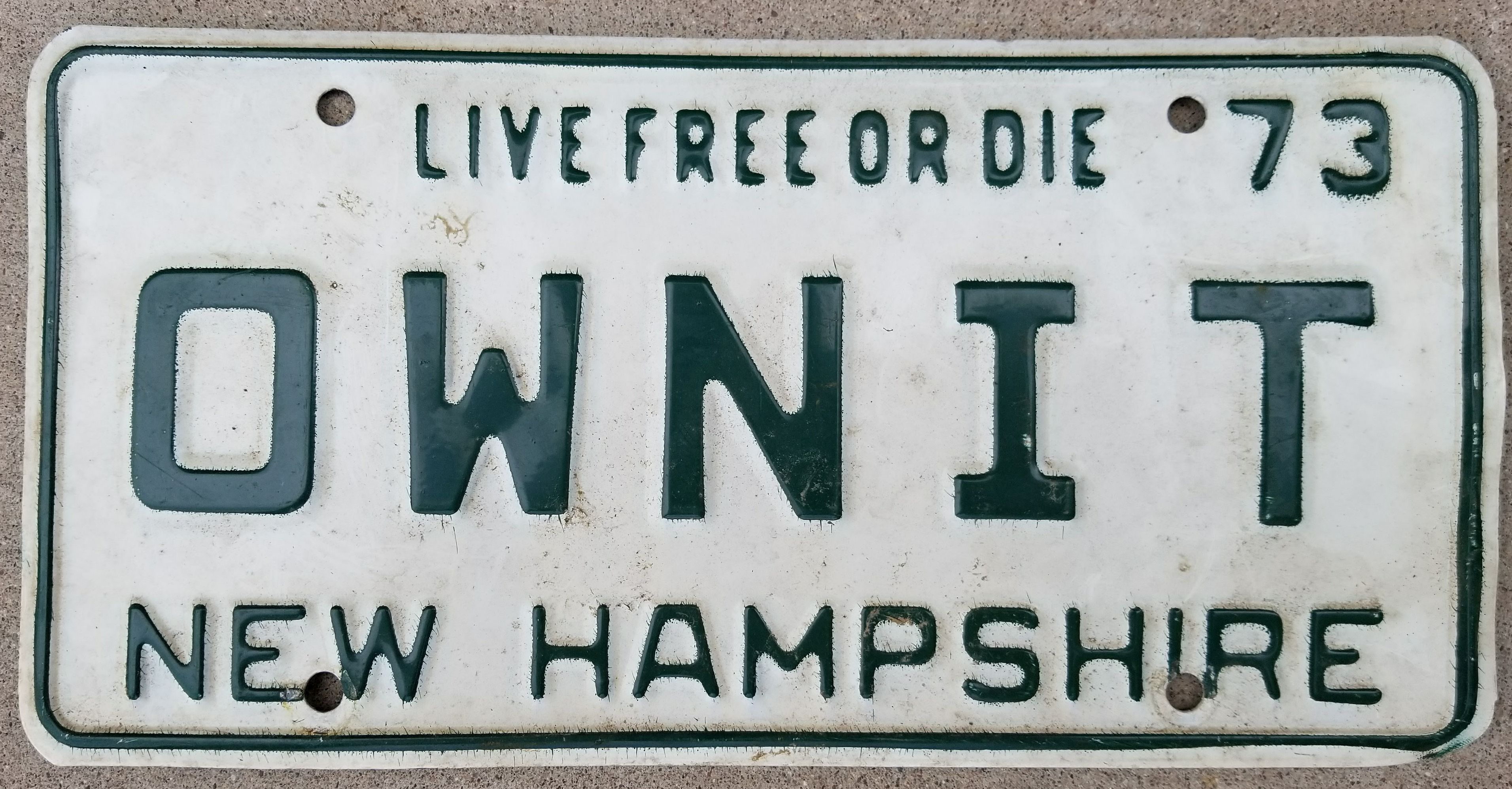File:1973 New Hampshire License Plate OWN IT.jpg - Wikipedia