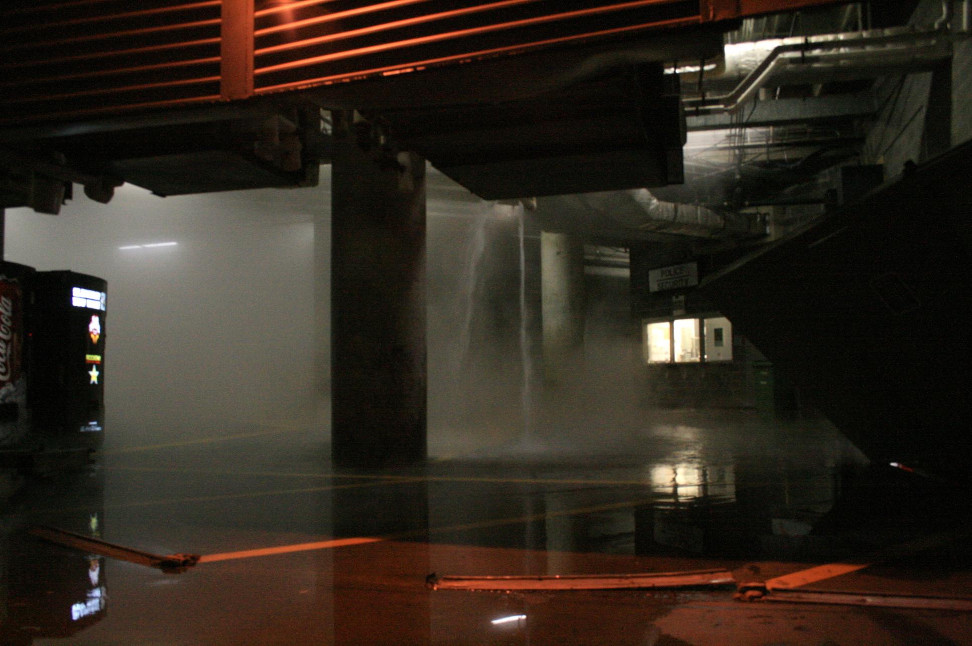 description 2008 03 14 basement hot water leak in the murphy ballroom