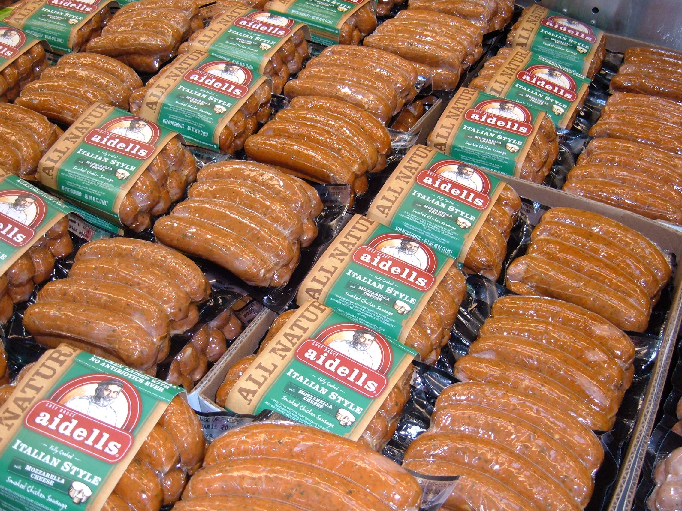 Description Aidells Italian Style sausages at Costco, SSF ECR.JPG
