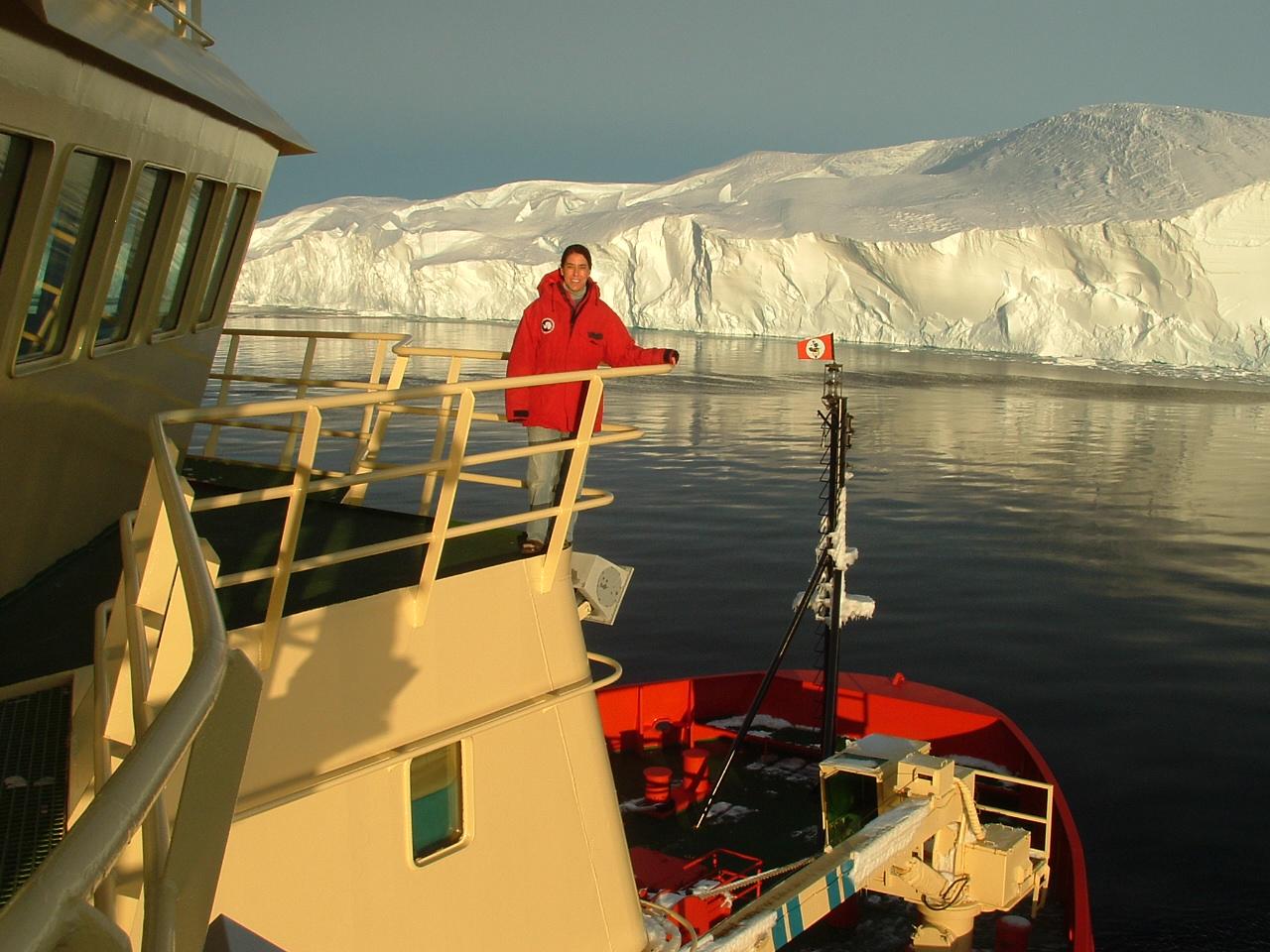 Amy Leventer aboard the [[Nathaniel B. Palmer (icebreaker) R/V Palmer]]
