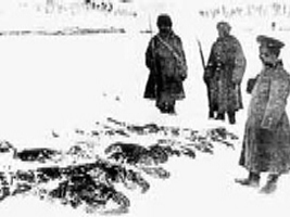 Russians collecting the frozen bodies of Turkish soldiers