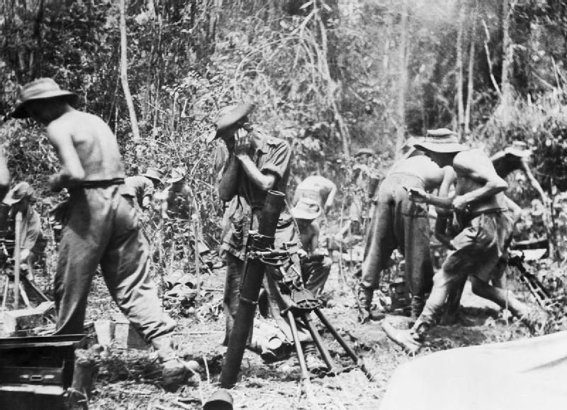 British 3-inch mortar detachments support the 19th Indian Division's advance along the Mawchi Road, east of Toungoo, Burma