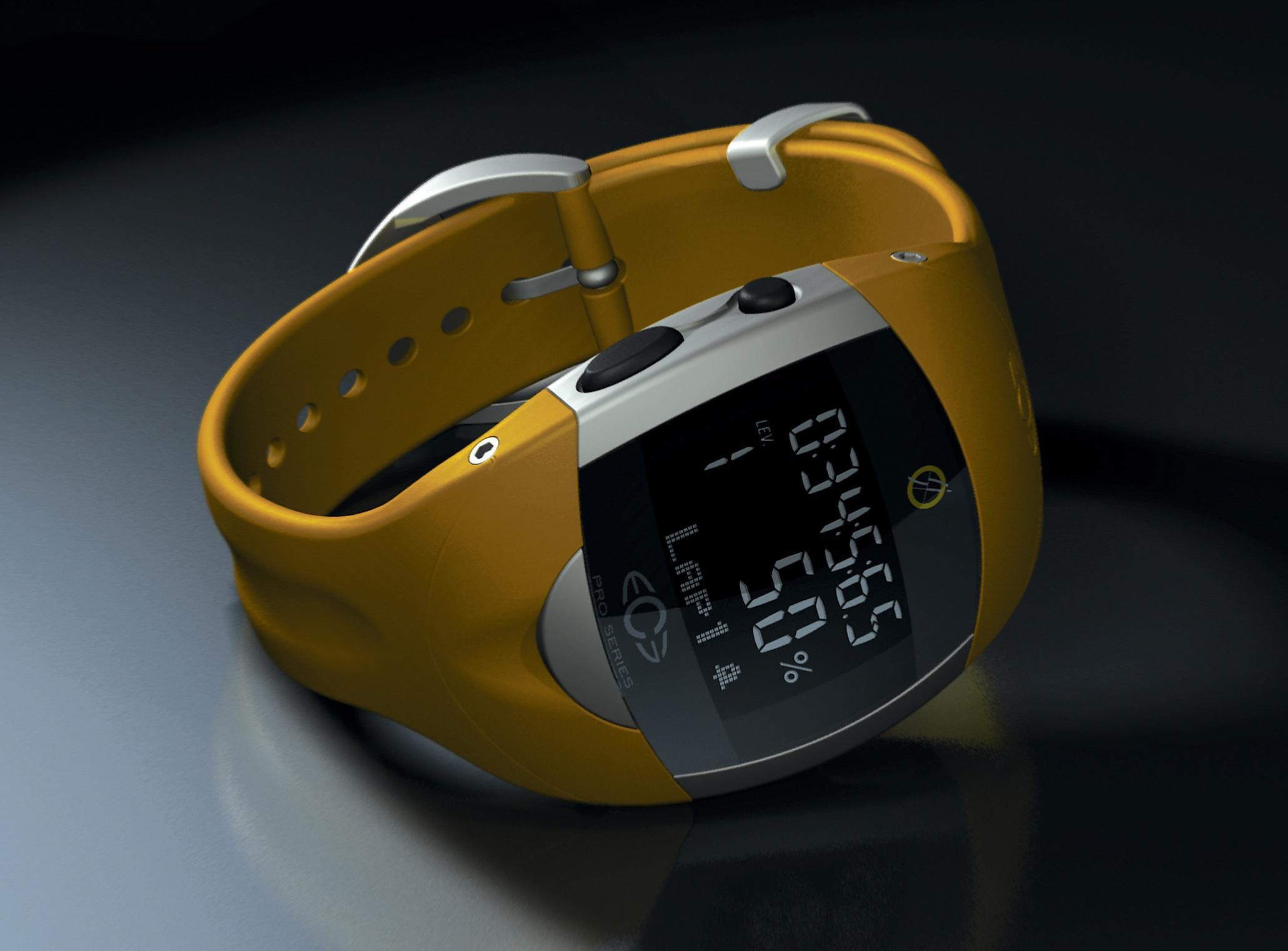English: CG ray tracing of a heart rate monito...