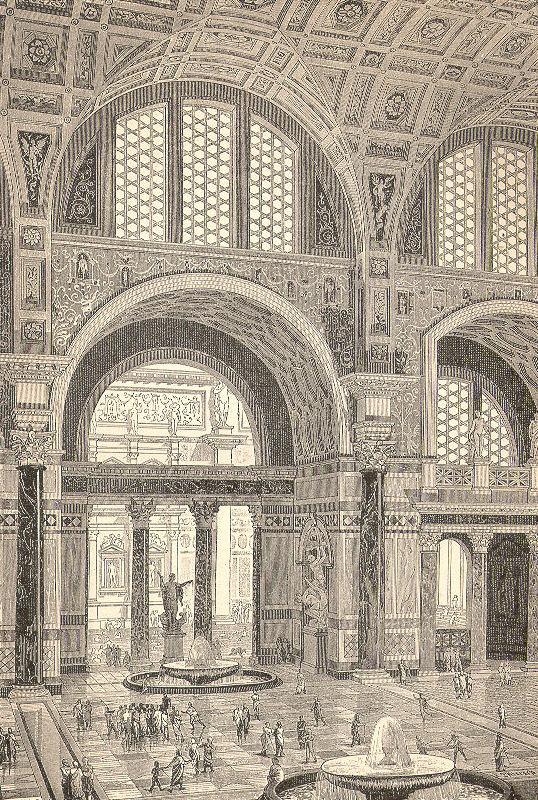 Reconstitution par Tiersch (1899) des thermes de Caracalla à Rome.