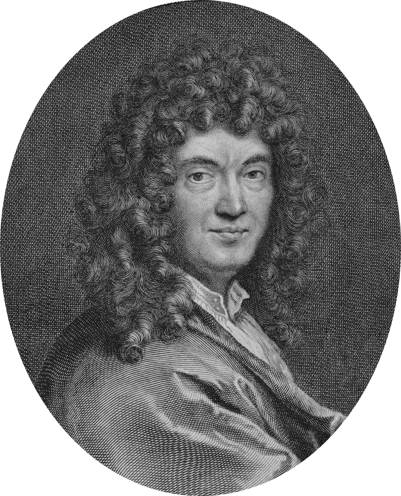 Engraved portrait of Perrault by [[Gérard Edelinck]]