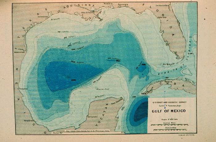 Contour map of Gulf of Mexico 1888