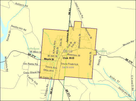 Detailed map of Oak Hill, Ohio