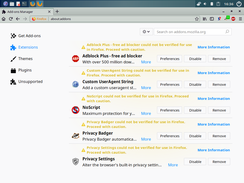 File:Firefox 60 3 0esr Add-ons Manager showing not verified