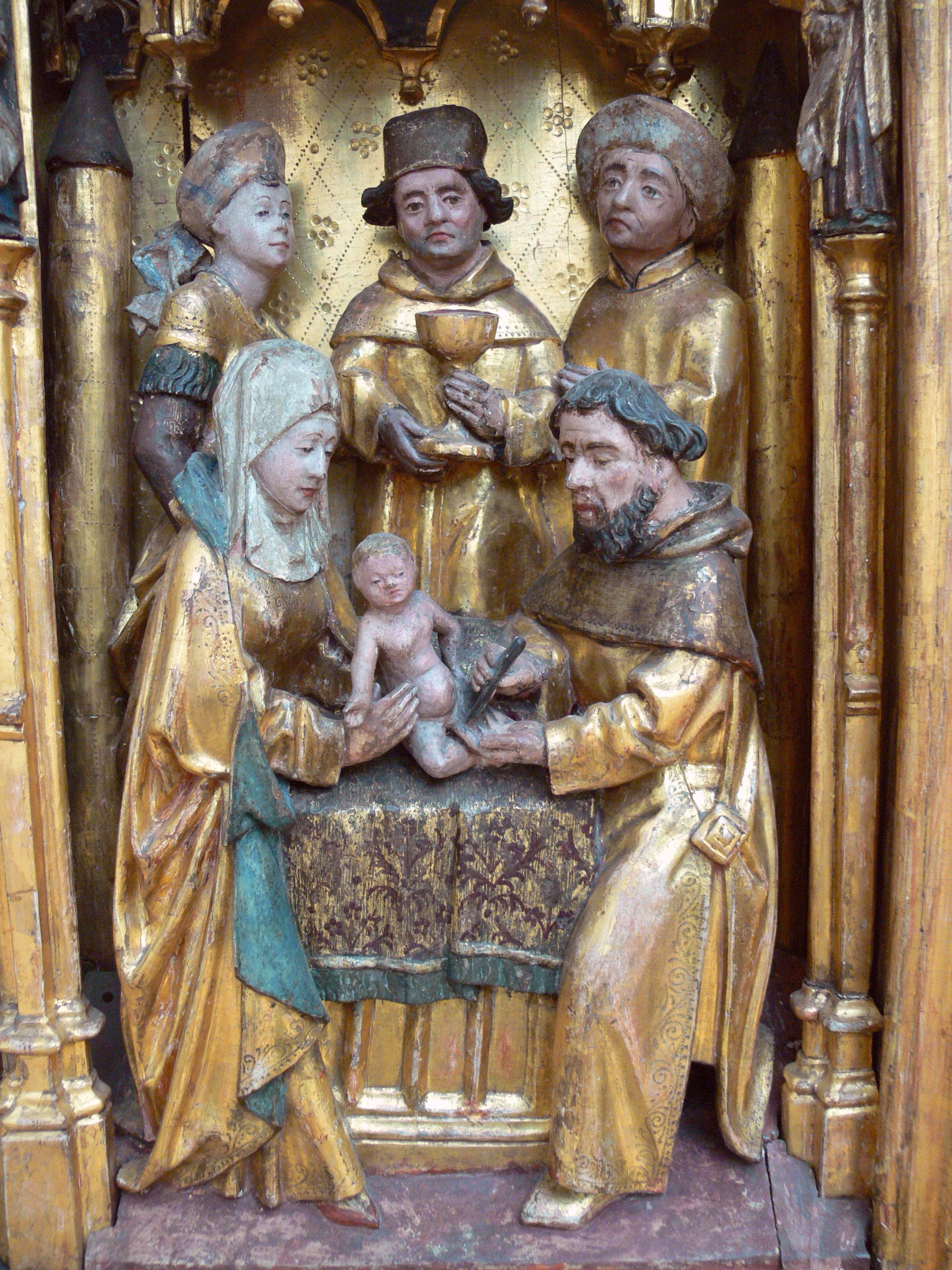 Beschneidung des Herrn. Altarretabel aus Mengen, Nord-Brabant, um 1480 (Berlin, Bode Museum).