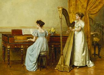 G G Kilburne - The music room