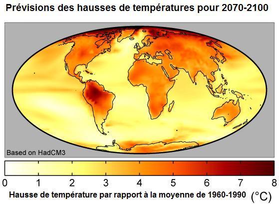 Carte des prévisions de hausses de températures pour 2070-2100
