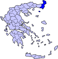 Location of Evros Prefecture in Greece
