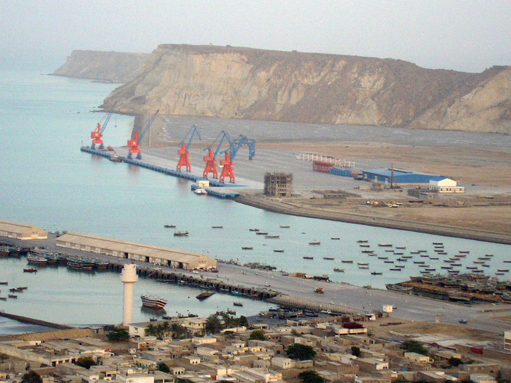 Gwadar Port, situated at Gwadar in Balochistan, Pakistan. Bird's eye view of Gwadar port