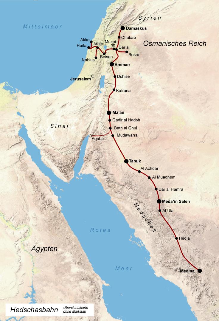 Übersichtskarte der Hedschas-Bahn