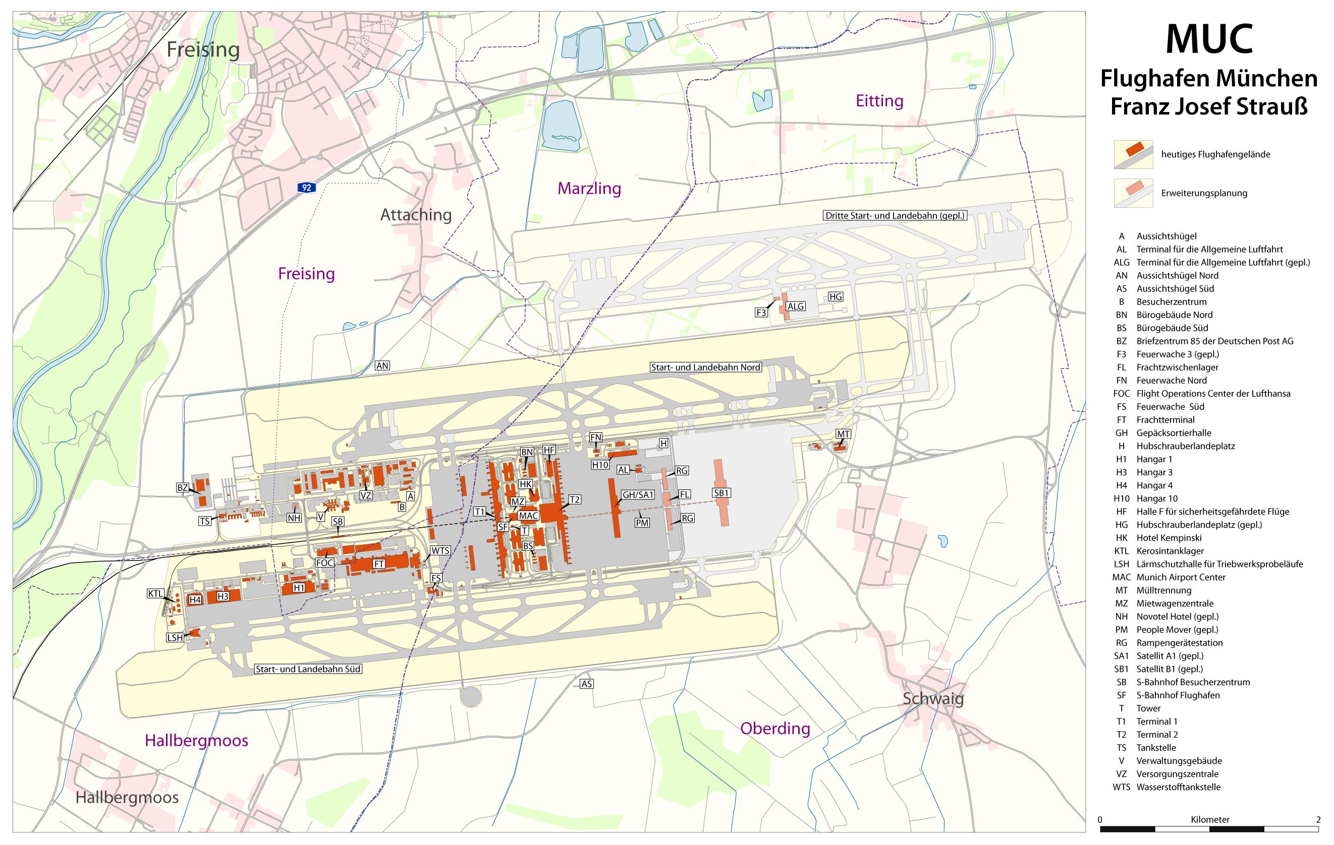 Karte des Flughafens mit Ausbauplanungen August 2009
