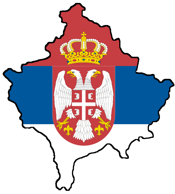 Kosovo with flag of Serbia.png