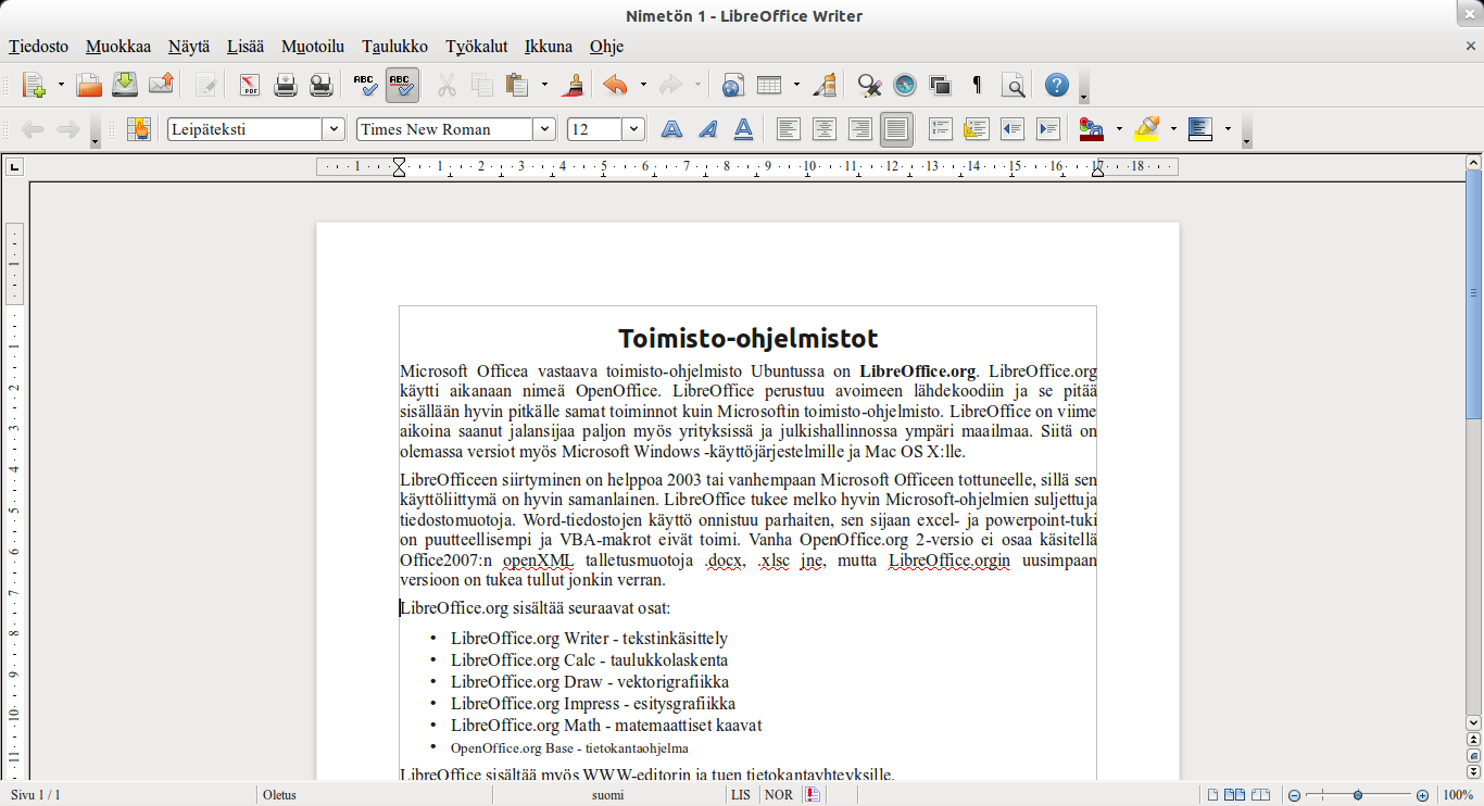 LibreOffice for Linux full screenshot