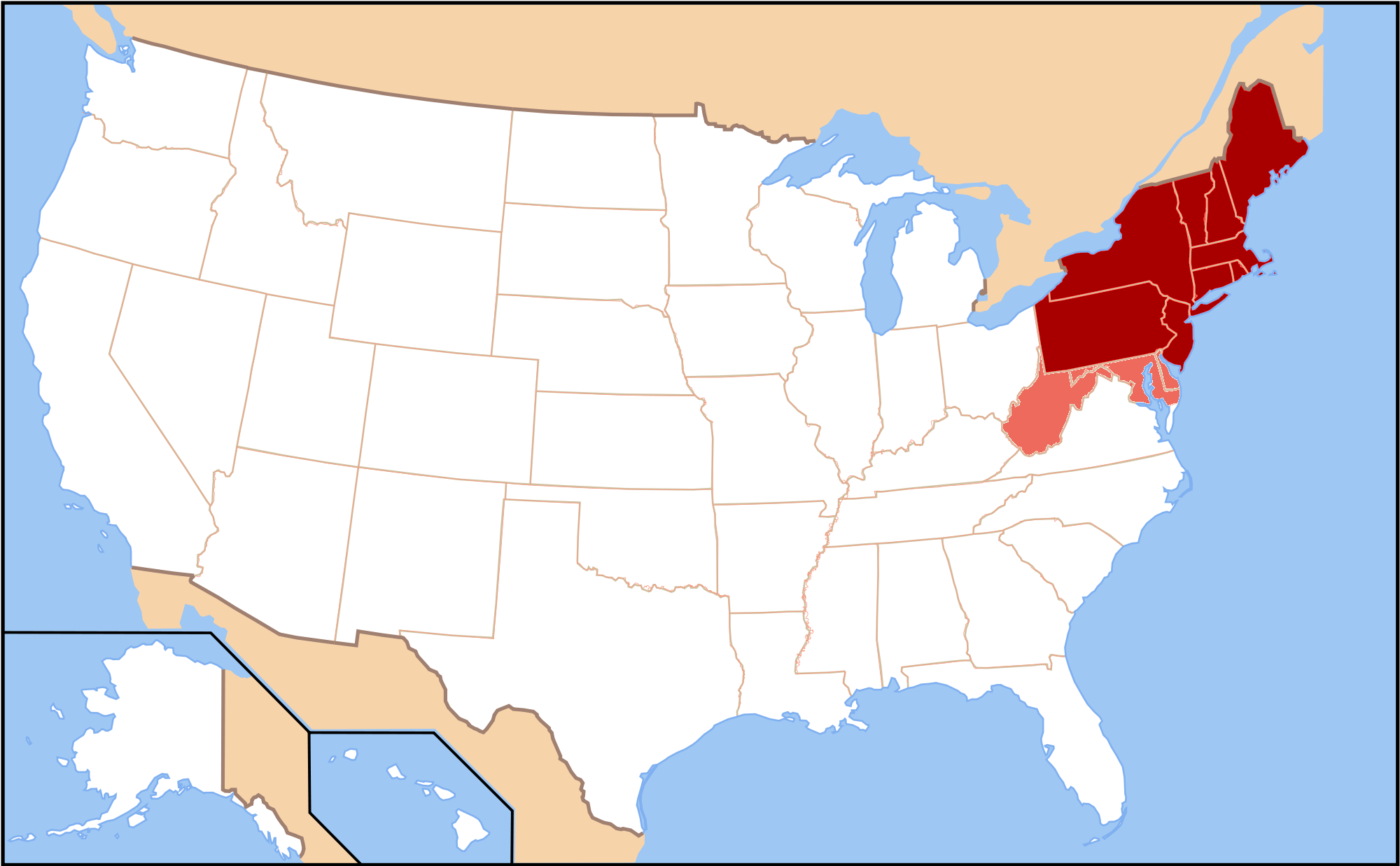 Description map of the northeastern united states png