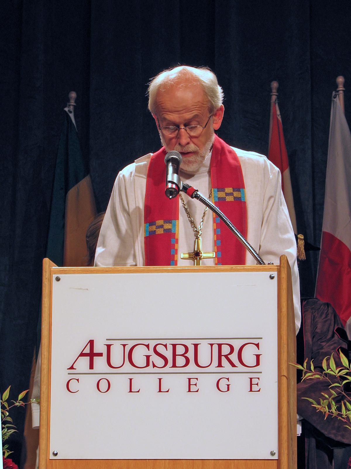 Hanson speaking at the inauguration of [[Augsburg University]] President Paul C. Pribbenow on Oct. 20, 2006.