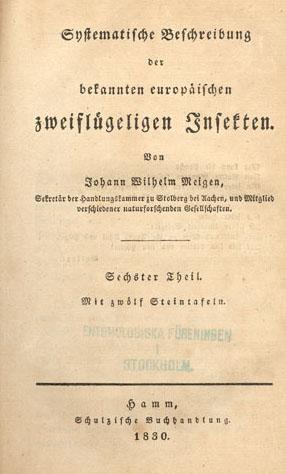 Frontis ''Systematische Beschreibung der bekannten europäischen zweiflügeligen Insekten''
