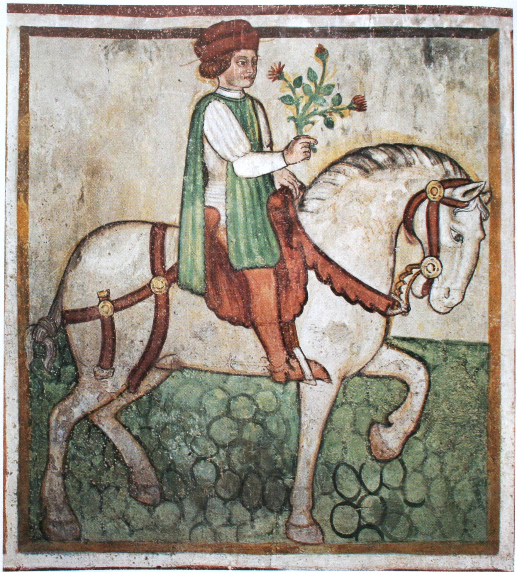 Personifikation des April, Wandmalerei in Sta. Maria del Castello (Mesocco, Kanton Graubünden, Schweiz), um 1560.
