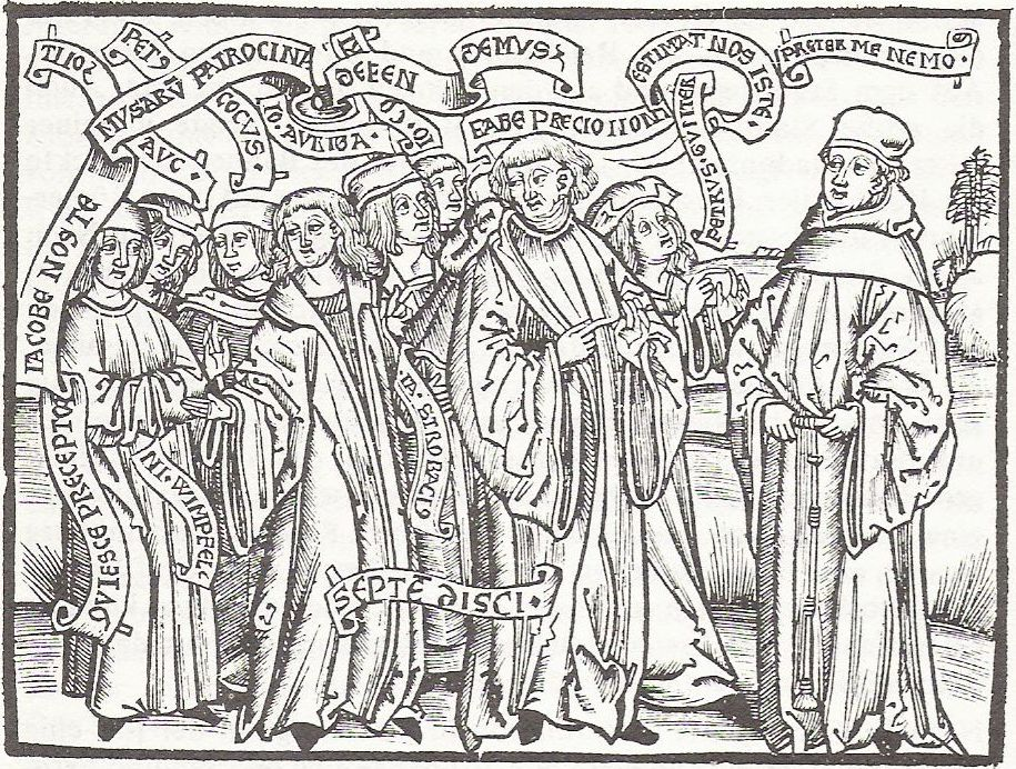 Jakob Wimpfeling and his students debating with Thomas Murner, ''Defensio Germaniae Jacobi Wympfelingii'', 1502