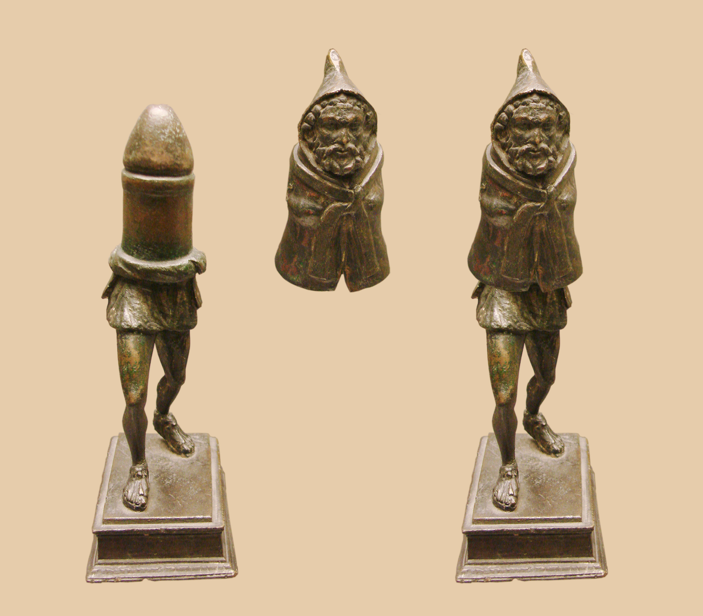 Gallo-Roman genius cucullati disguising a phallus from Picardy, northern France. From Wikimedia Commons