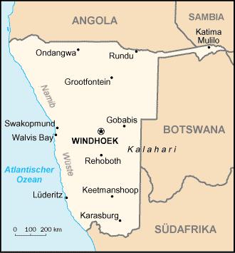 Karte von Nambia aus Worldfactbook CIA